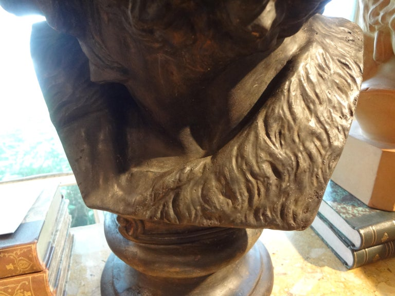 Napoleon III Large French Patinated Plaster Bust, Head of a Gaul For Sale