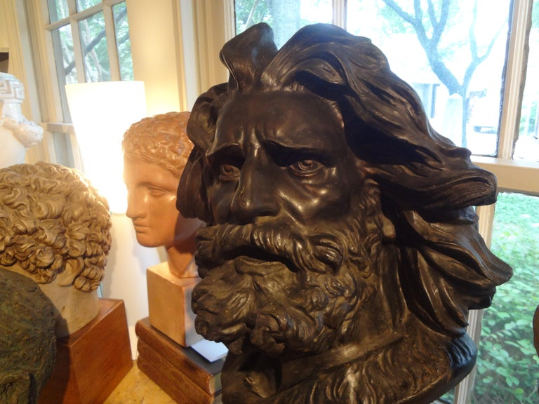 Large French Patinated Plaster Bust, Head of a Gaul In Good Condition For Sale In Houston, TX