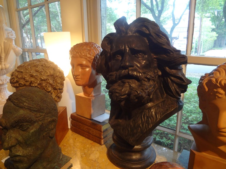 Early 20th Century Large French Patinated Plaster Bust, Head of a Gaul For Sale