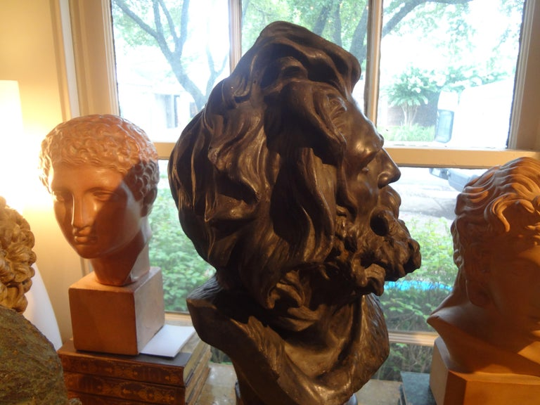 Large French Patinated Plaster Bust, Head of a Gaul For Sale 1