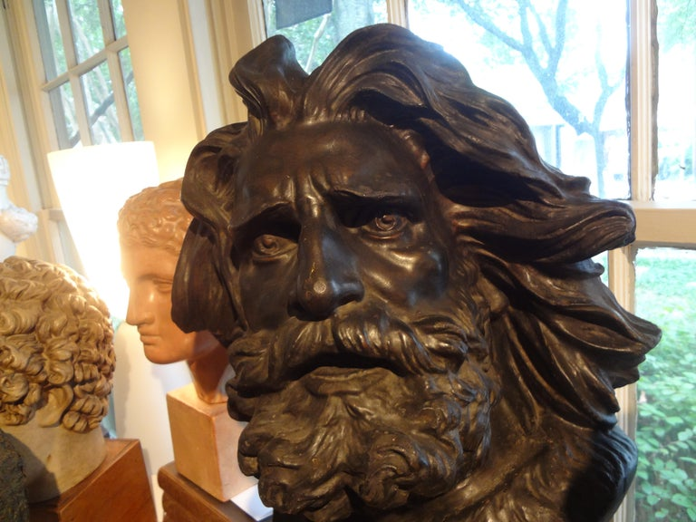 Large French Patinated Plaster Bust, Head of a Gaul For Sale 3