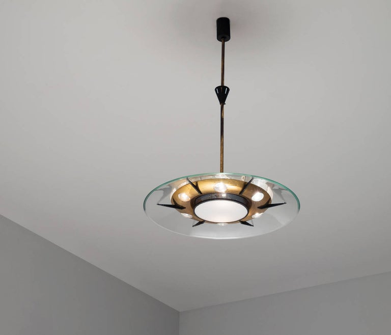 Mid-Century Modern Large Italian Pendant with Brass For Sale