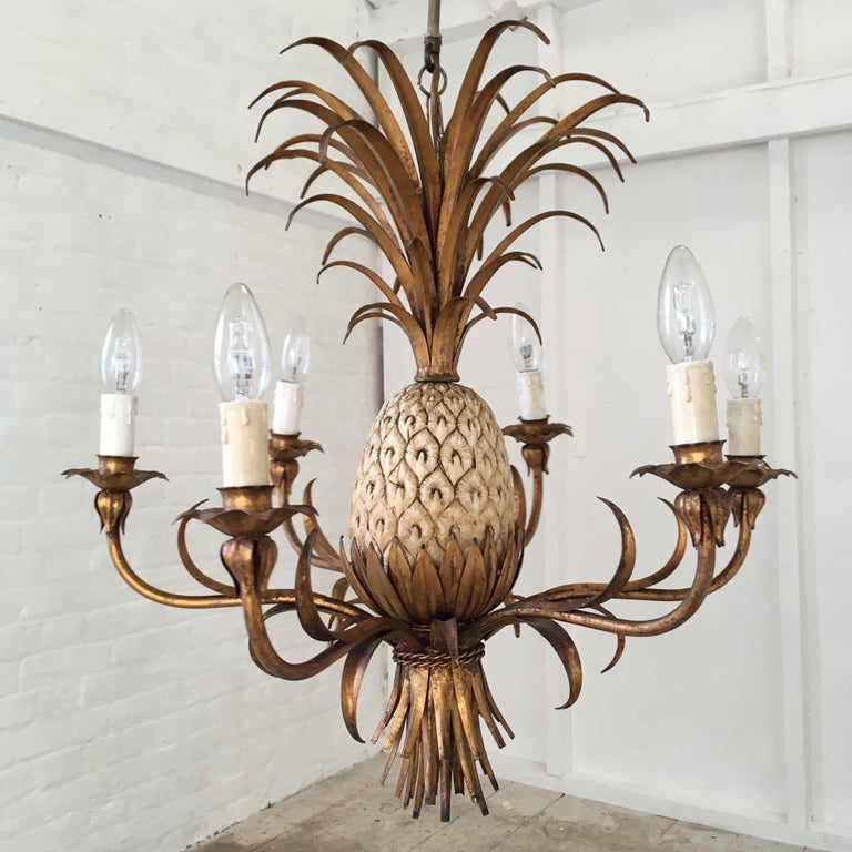 Large Italian Pineapple Wall Sconce Lights, circa 1950s For Sale 7