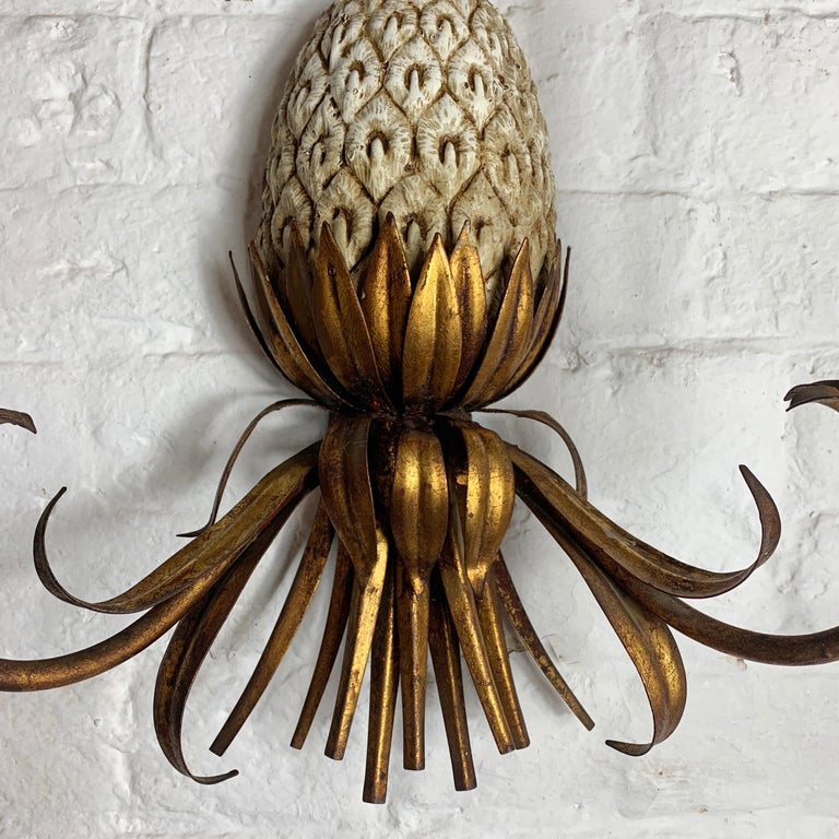 Mid-Century Modern Large Italian Pineapple Wall Sconce Lights, circa 1950s For Sale