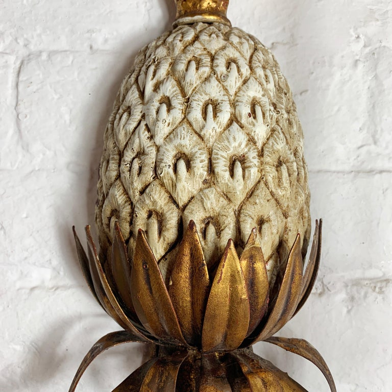 20th Century Large Italian Pineapple Wall Sconce Lights, circa 1950s For Sale