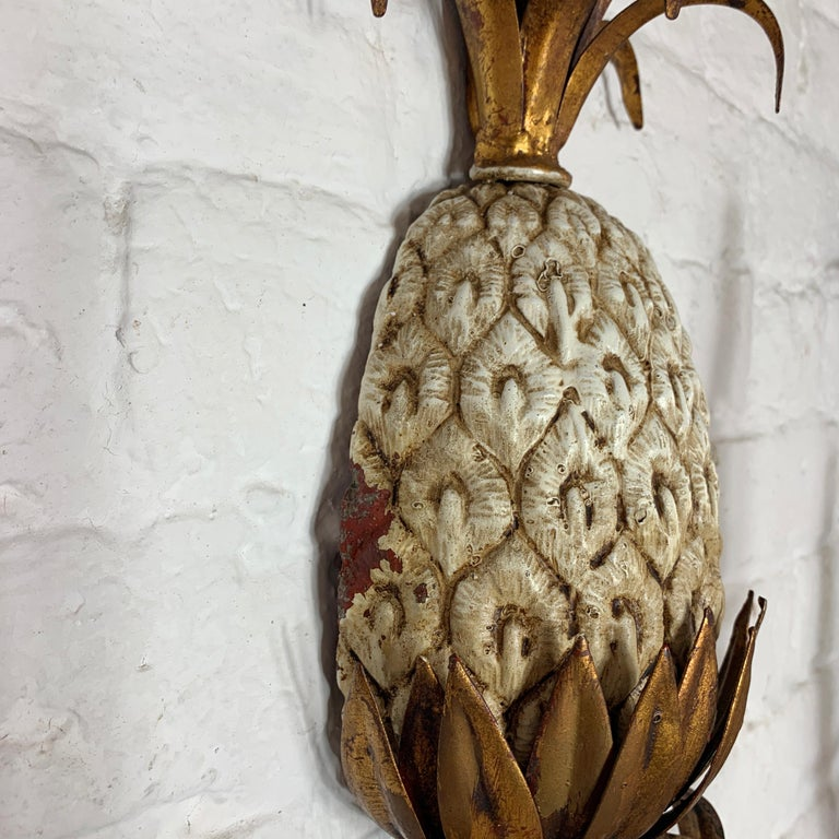 Large Italian Pineapple Wall Sconce Lights, circa 1950s For Sale 3