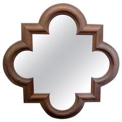 Large Italian Quatrefoil Wood Mirror