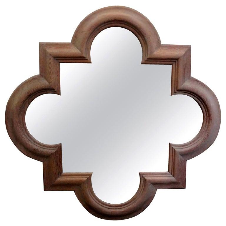 Large Italian Quatrefoil Wood Mirror For Sale