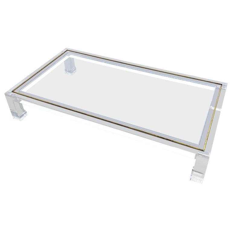 Large Italian Rectangular Lucite, Inlaid Brass Edge And Glass Cocktail Table For Sale 6