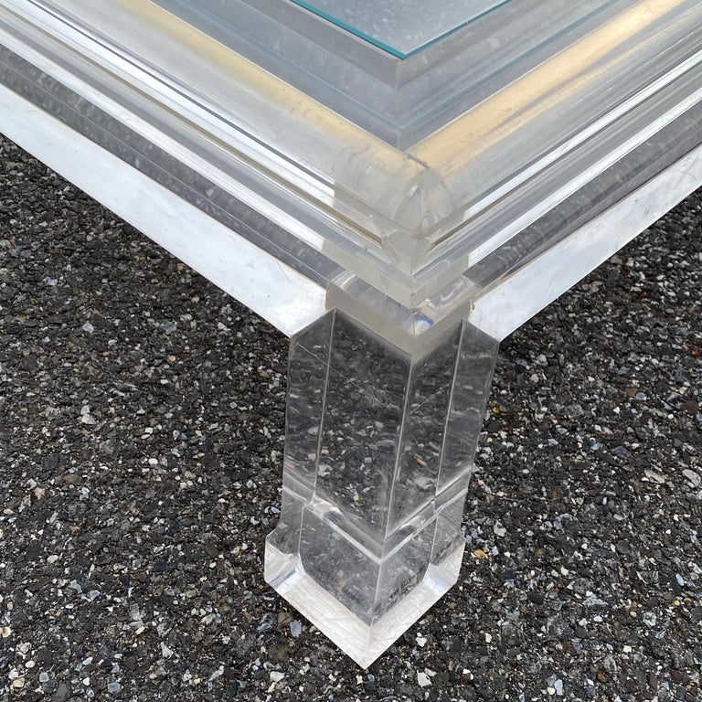 Large Italian Rectangular Lucite, Inlaid Brass Edge And Glass Cocktail Table For Sale 8
