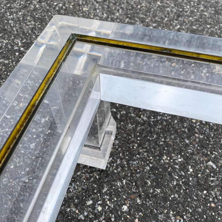 Large Italian Rectangular Lucite, Inlaid Brass Edge And Glass Cocktail Table For Sale 11