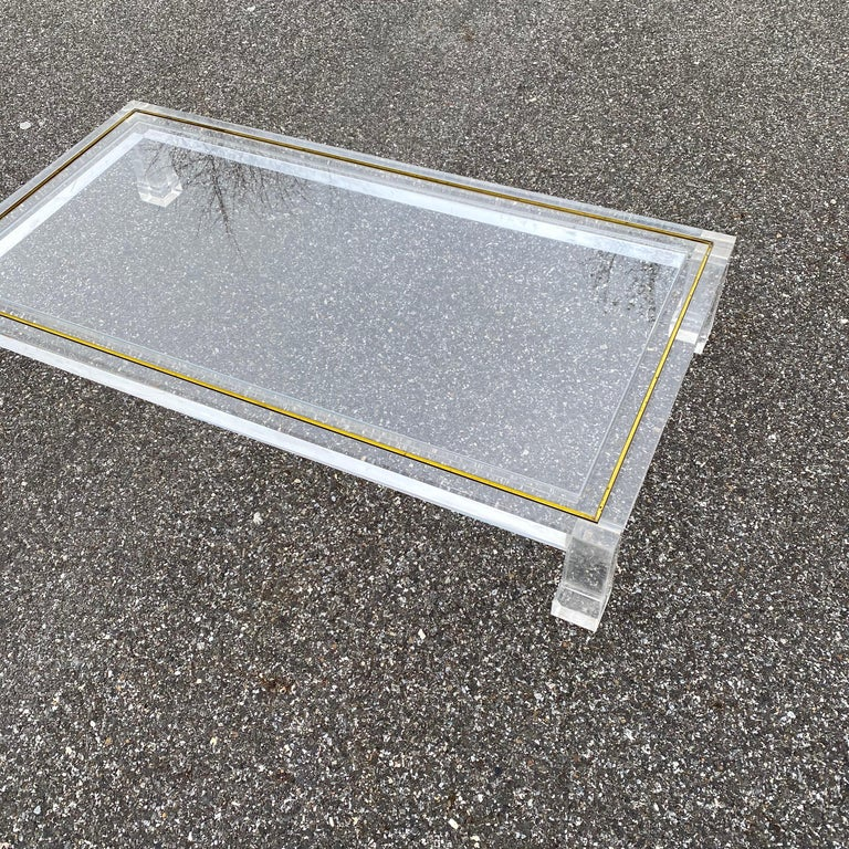 Large Italian Rectangular Lucite, Inlaid Brass Edge And Glass Cocktail Table For Sale 14
