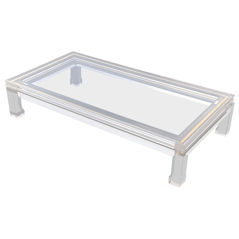 Large Italian Rectangular Lucite, Inlaid Brass Edge And Glass Cocktail Table For Sale 2