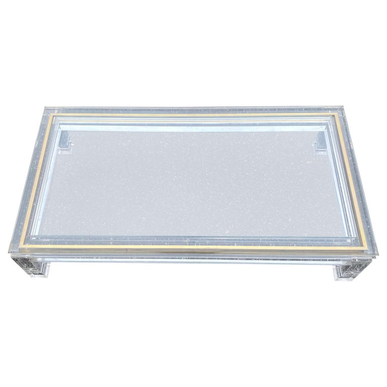 Large Italian Rectangular Lucite, Inlaid Brass Edge And Glass Cocktail Table For Sale
