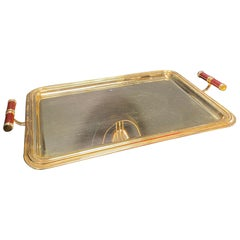 Large Italian Rectangular Tray Gold Plated 24-Karat, 1970s