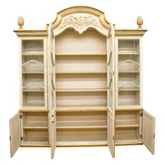 Large Italian Regency Cream and Gold Gilt Breakfront China Display Cabinet