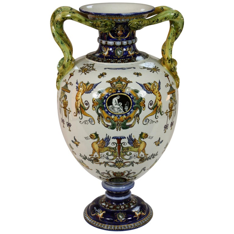Large Italian Renaissance Style Faience Vase with Snake Handles by Gien For Sale