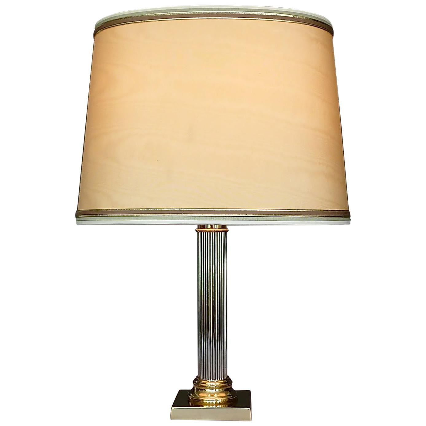 Large Italian Romeo Rega Jansen Style Column Table Lamp Gilt Brass Chrome, 1970s