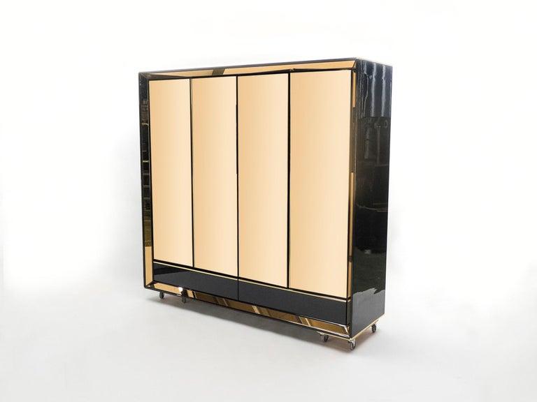 Large Italian Sandro Petti Black Lacquered Brass Mirrored