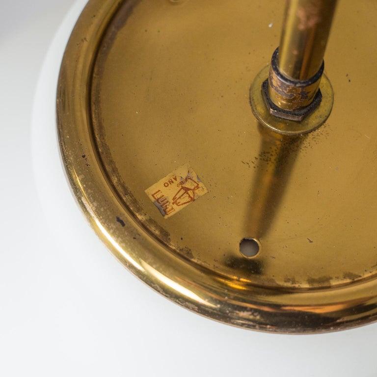 Large Italian Satin Glass Chandelier, Oscar Torlasco for Lumi Milano, 1950s For Sale 5