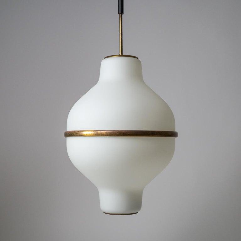 Large Italian Satin Glass Chandelier, Oscar Torlasco for Lumi Milano, 1950s For Sale 10