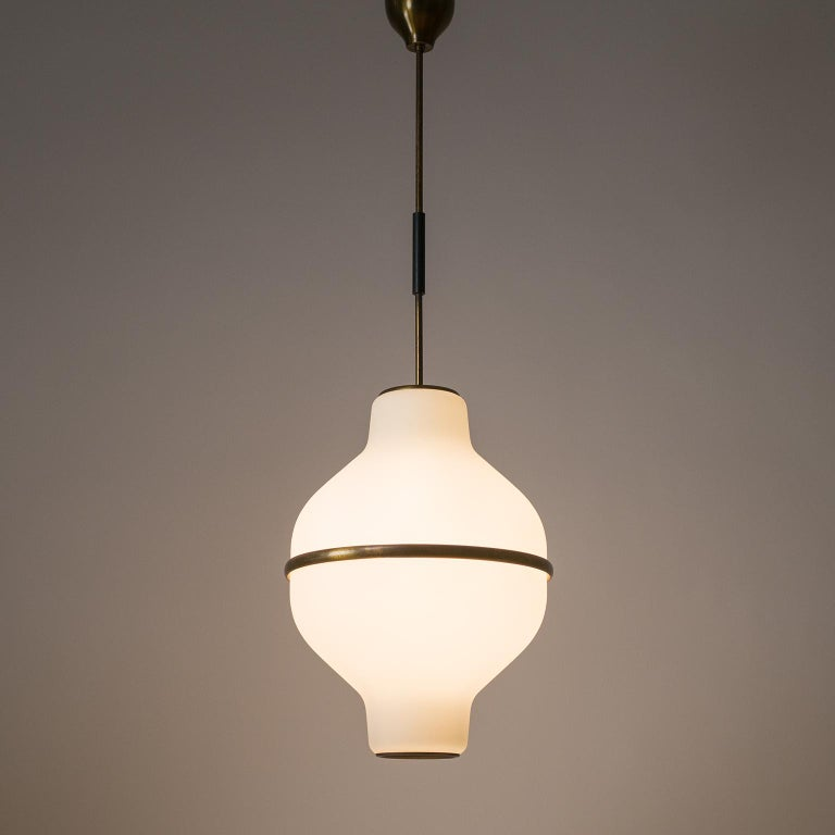 Frosted Large Italian Satin Glass Chandelier, Oscar Torlasco for Lumi Milano, 1950s For Sale