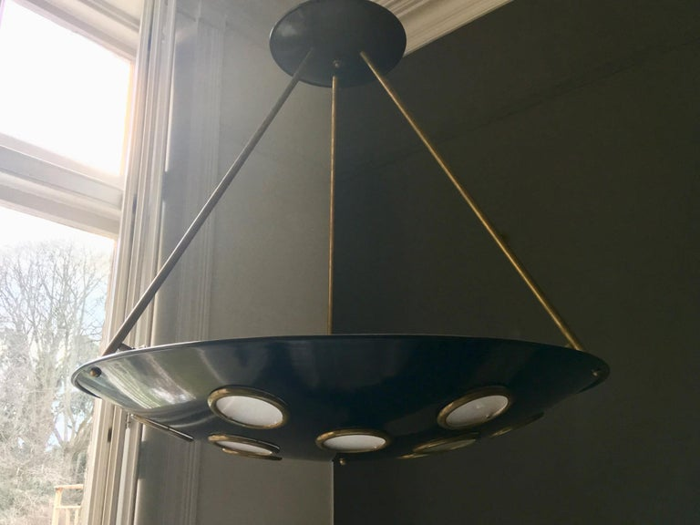 Large Mid-20th Century Italian Saucer Chandelier For Sale 7