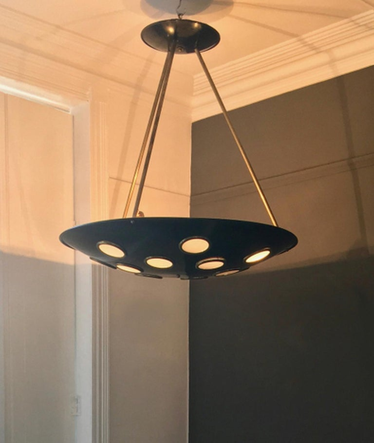 Large Mid-20th Century Italian Saucer Chandelier For Sale 8