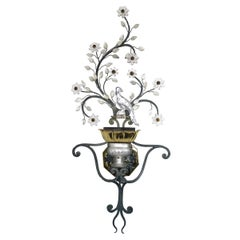 Large Italian Sconce with Crystal Bird, Flowers and Leaves by Banci Firenze