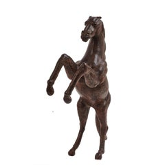 Large Italian Sculpted Leather Rearing Stallion, circa 1960