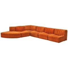 Tito Agnoli for Arflex Sectional Sofa Model '9000' in Orange Upholstery