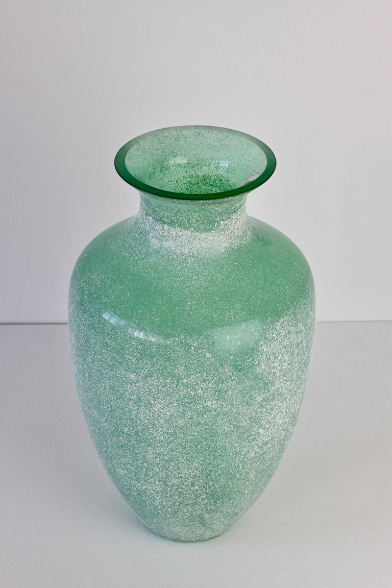 Blown Glass Large Italian Seguso Vetri d'Arte Green 'Scavo' Murano Glass Vintage Floor Vase For Sale