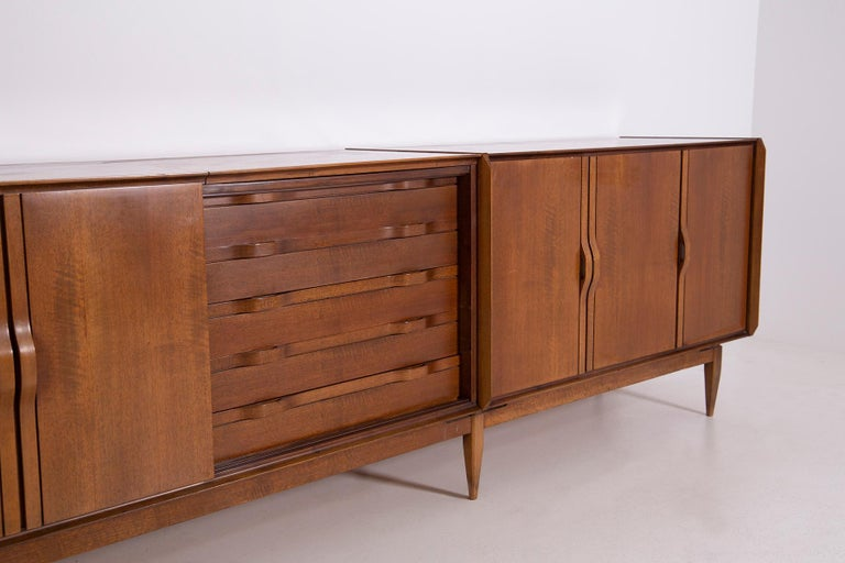 Mid-Century Modern Large Italian Sideboard in Walnut from the 1950s For Sale