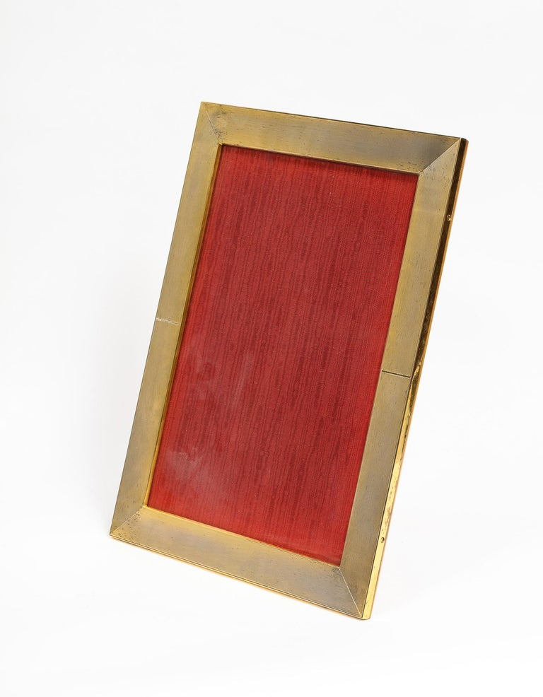 Large Italian Silver Gilt and Wood Photo Picture Frame For Sale 1