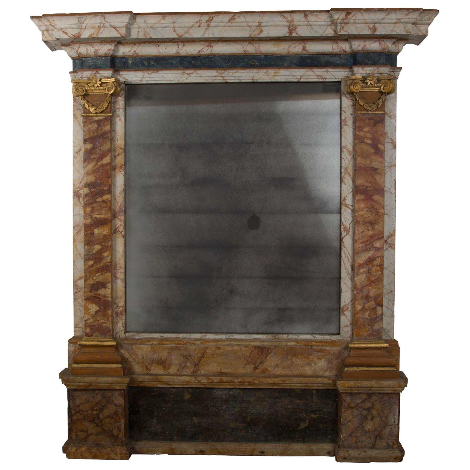 Large Italian Simulated Marble Mirror
