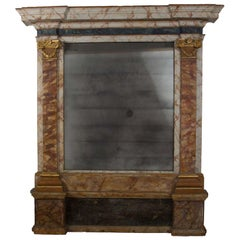 Large Italian Simulated Marble Mirror