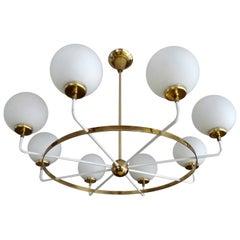 Large Italian Pendant Light, Brass Glass Chandelier,  Stilnovo Ponti Era