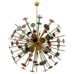 """Large Italian """"Sputnik"""" Chandelier Agate Stone Sections and Brass"""