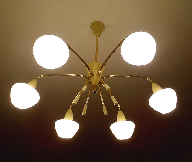 Large Sputnik Glass Brass Chandelier Pendant Light, Stilnovo Gio Ponti Era  For Sale 4