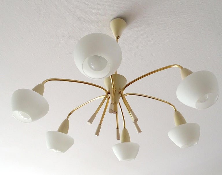 Large Italian Sputnik Glass Brass Chandelier Pendant, Stilnovo Gio Ponti Era  For Sale 6