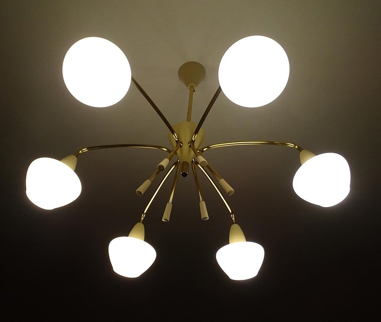 Large Sputnik Glass Brass Chandelier Pendant Light, Stilnovo Gio Ponti Era  For Sale 6