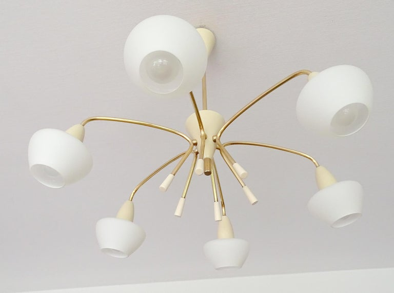 Large Sputnik Glass Brass Chandelier Pendant Light, Stilnovo Gio Ponti Era  For Sale 7