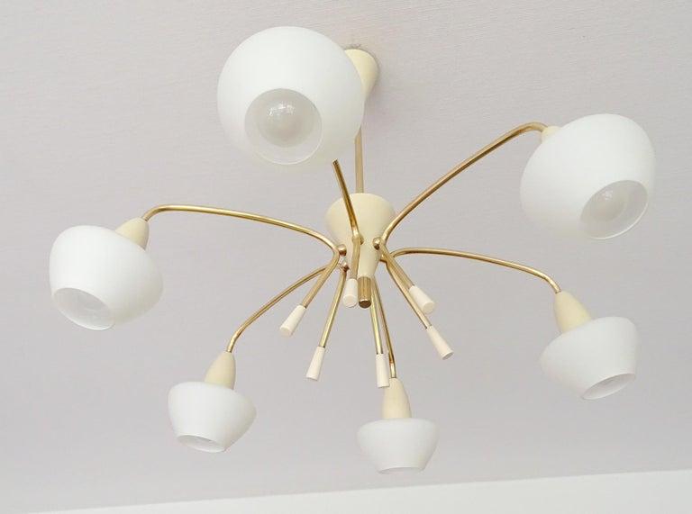 Large Italian Sputnik Glass Brass Chandelier Pendant, Stilnovo Gio Ponti Era  For Sale 8
