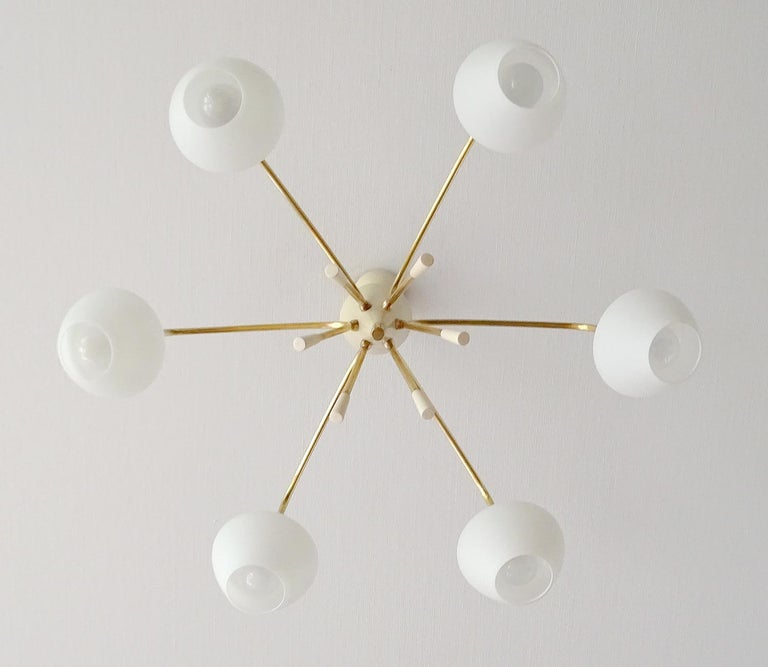 Large Sputnik Glass Brass Chandelier Pendant Light, Stilnovo Gio Ponti Era  For Sale 9