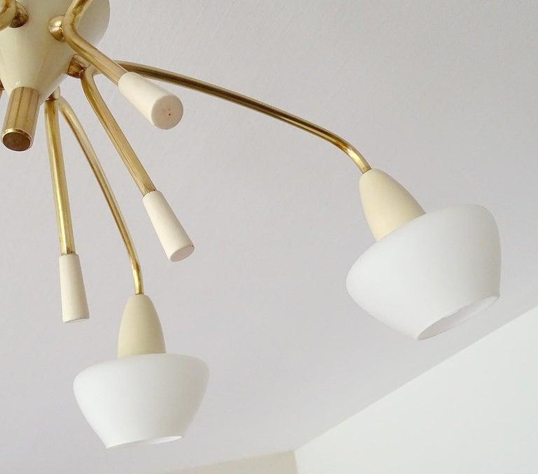 Large Italian Sputnik Glass Brass Chandelier Pendant, Stilnovo Gio Ponti Era  For Sale 11