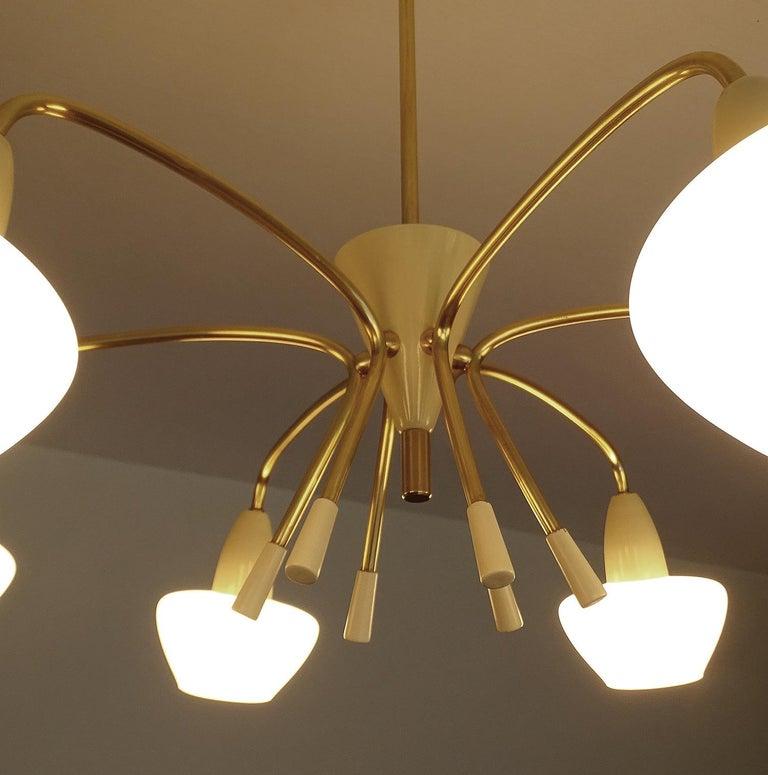 Large Italian Sputnik Glass Brass Chandelier Pendant, Stilnovo Gio Ponti Era  For Sale 12