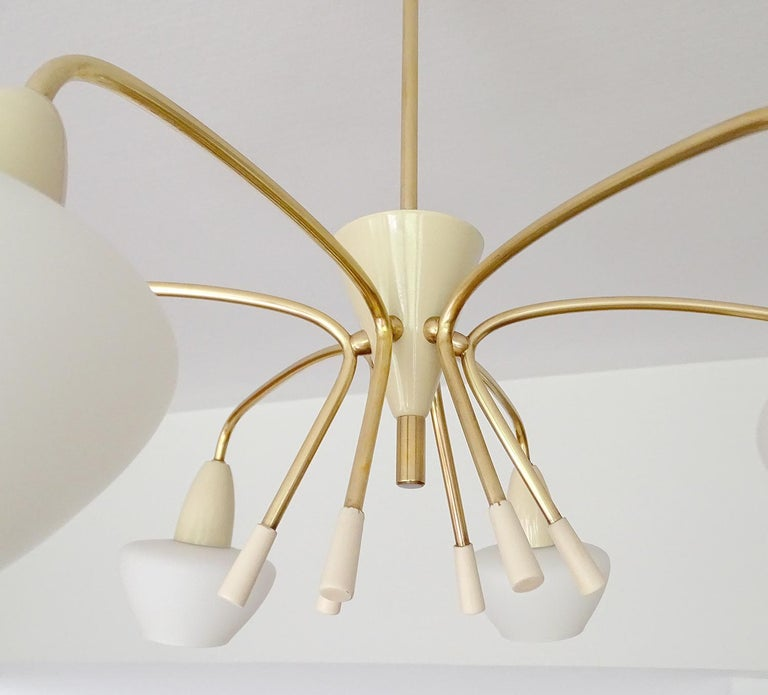 Large Sputnik Glass Brass Chandelier Pendant Light, Stilnovo Gio Ponti Era  For Sale 12