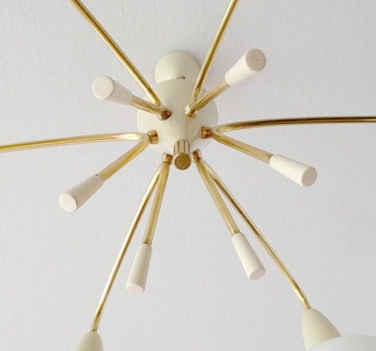 Large Italian Sputnik Glass Brass Chandelier Pendant, Stilnovo Gio Ponti Era  For Sale 14