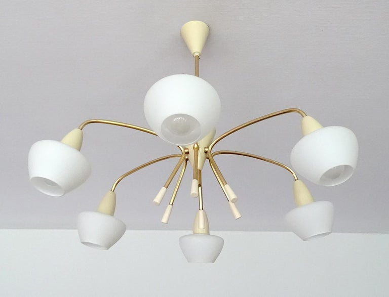 Mid-Century Modern Large Sputnik Glass Brass Chandelier Pendant Light, Stilnovo Gio Ponti Era  For Sale