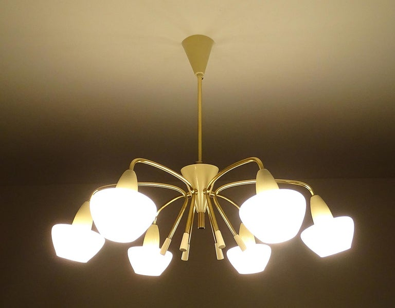 Italian Large Sputnik Glass Brass Chandelier Pendant Light, Stilnovo Gio Ponti Era  For Sale